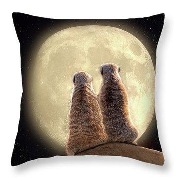 Meerkat Moon Throw Pillow
