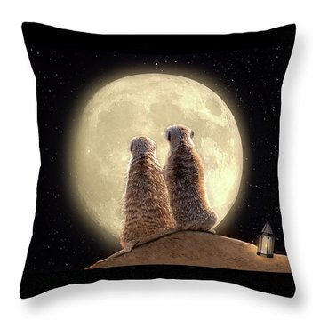Meerkat Moon Throw Pillow
