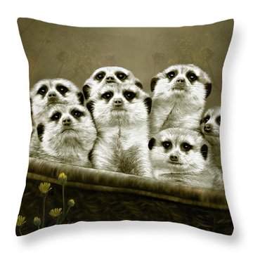 Throw Pillow featuring the digital art Meerkats by Thanh Thuy Nguyen