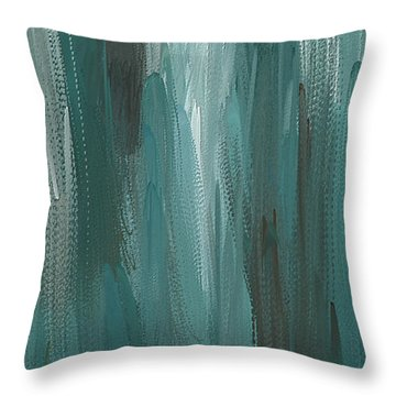 Throw Pillow featuring the painting Meet Halfway - Teal And Gray Abstract Art by Lourry Legarde
