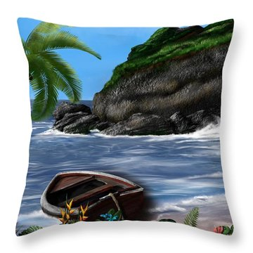 Throw Pillow featuring the digital art Meet Me At The Beach by Mark Taylor