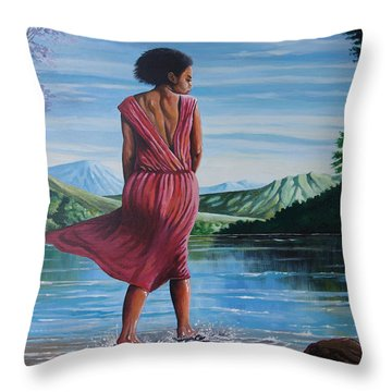 Throw Pillow featuring the painting Meet Me At The River by Anthony Mwangi