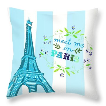 Meet Me In Paris Throw Pillow by Priscilla Wolfe