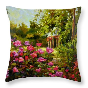 Throw Pillow featuring the painting Meet Me In The Garden by Chris Brandley