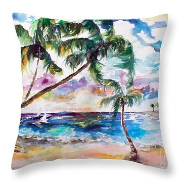 Throw Pillow featuring the painting Meet Me On Bimini Island Bahamas by Ginette Callaway