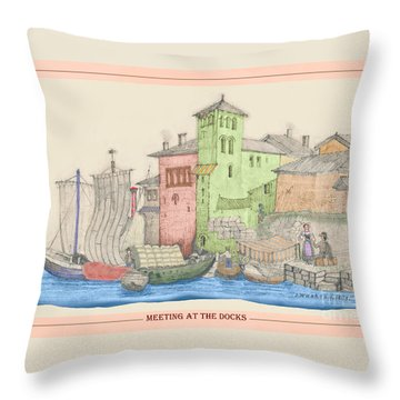 Meeting At The Docks Classic Throw Pillow by Donna Munro