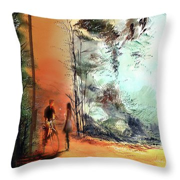 Throw Pillow featuring the painting Meeting On A Date by Anil Nene