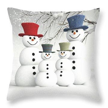 Meeting The Snowmen Family Throw Pillow