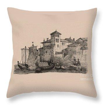 Meetings At The Dock Throw Pillow