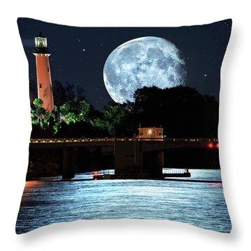 Mega Super Moon Rising Over Jupiter Lighthouse Throw Pillow