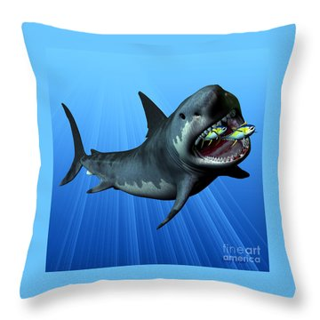 Megalodon Throw Pillow by Corey Ford