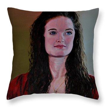 Megan At Eighteen Throw Pillow by Stan Hamilton
