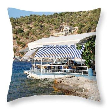 Meganissi Beach Taverna Throw Pillow