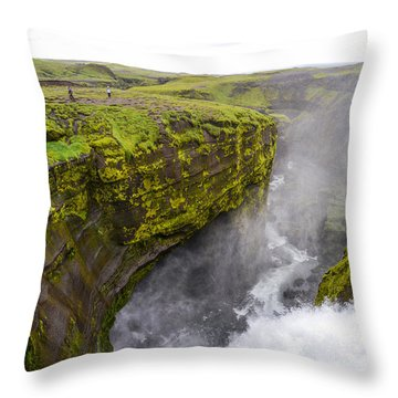 Thundering Icelandic Chasm On The Fimmvorduhals Trail Throw Pillow