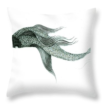 Throw Pillow featuring the drawing Megic Fish 1 by James Lanigan Thompson MFA
