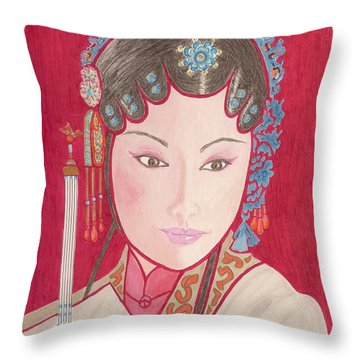 Mei Ling -- Portrait Of Woman From Chinese Opera Throw Pillow