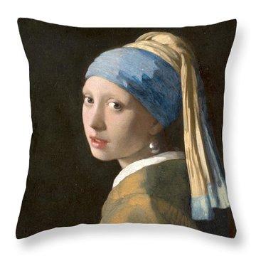 Meisje Met De Parel Throw Pillow