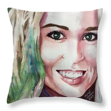 Throw Pillow featuring the painting Meka by Michal Madison
