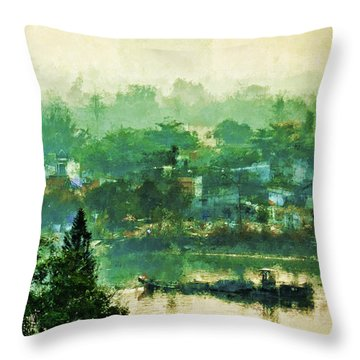 Mekong Morning Throw Pillow by Cameron Wood
