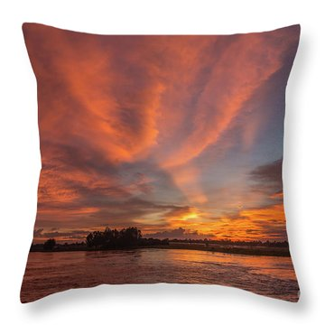 Throw Pillow featuring the photograph Mekong Sunset 3 by Werner Padarin
