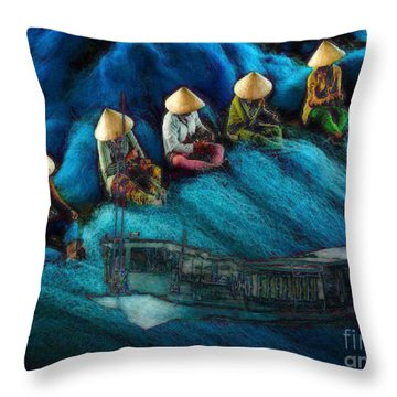 Mekong Weavers Throw Pillow