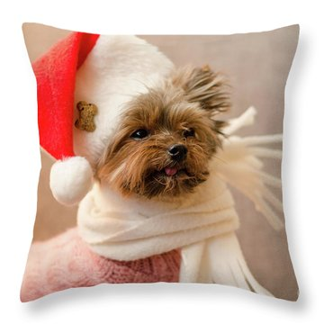 Melanie In Christmas Hat Throw Pillow