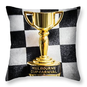 Melbourne Cup Pin On Mens Chequered Fashion Tie Throw Pillow