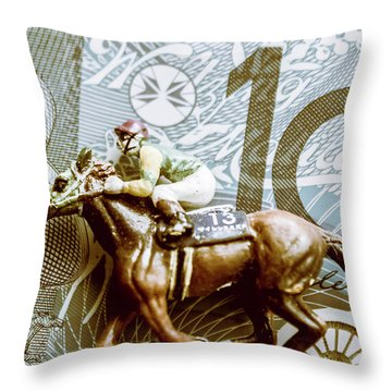 Melbourne Cup Wager Throw Pillow