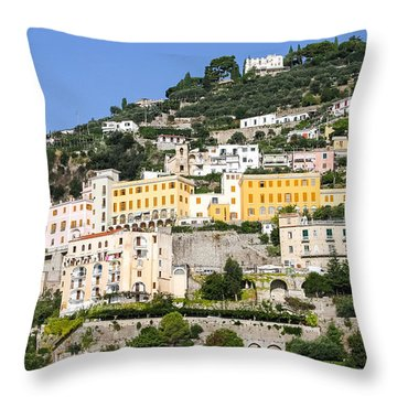 Mellow Yellow Buildings Throw Pillow by Allan Levin