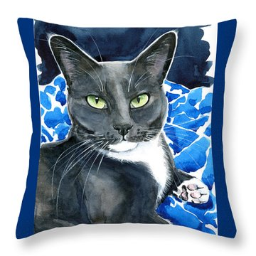 Melo - Blue Tuxedo Cat Painting Throw Pillow