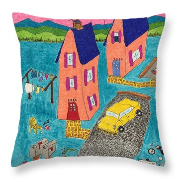 Melon Houses Throw Pillow