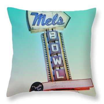 Mels Bowl Retro Sign Throw Pillow by Kathleen Grace