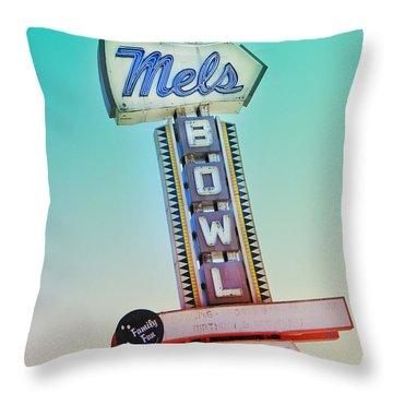 Mels Bowl Retro Sign Throw Pillow