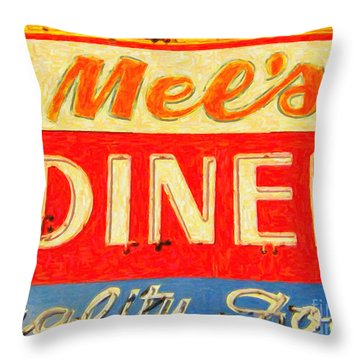Throw Pillow featuring the photograph Mels Diner by Wingsdomain Art and Photography