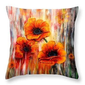 Melting Flowers Throw Pillow