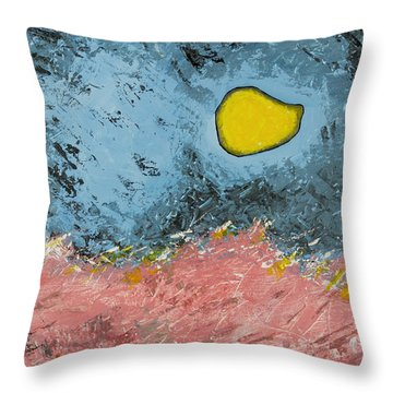 Throw Pillow featuring the painting Melting Moon Over Drifting Sand Dunes by Ben Gertsberg