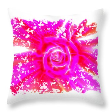 Melting Pink Rose Fractalius Throw Pillow