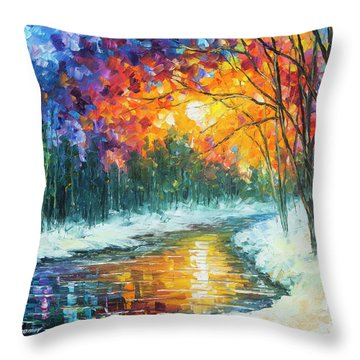 Melting River Throw Pillow by Leonid Afremov