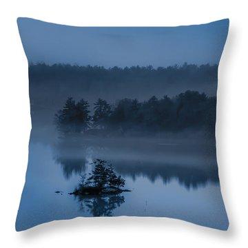 Melvin Bay Blues Throw Pillow