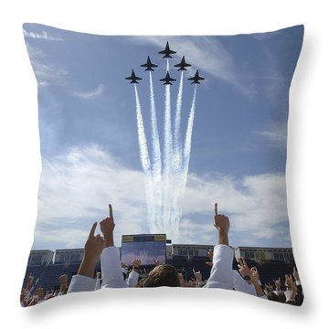 Throw Pillow featuring the photograph Members Of The U.s. Naval Academy Cheer by Stocktrek Images