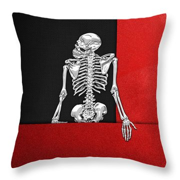 Memento Mori - Skeleton On Red And Black  Throw Pillow