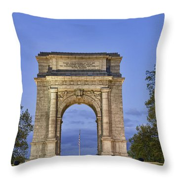 Memorial Arch Valley Forge Throw Pillow