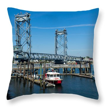 Memorial Bridge Portsmouth Throw Pillow by Kevin Fortier