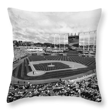 Memorial Day At Kauffman Stadium Bw Throw Pillow