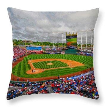 Memorial Day At Kauffman Stadium Throw Pillow