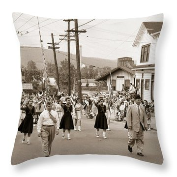Memorial Day Parade Ashley Pa With Train Station And The Huber Colliery In Background 1955 Throw Pillow