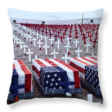 Throw Pillow featuring the photograph Memorial Day Remembrance At The Beach by Mariola Bitner