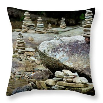 Memorial Stacked Stones Throw Pillow