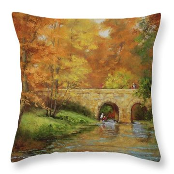 Memories At Stone Bridge Throw Pillow