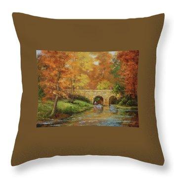 Memories At Stone Bridge Throw Pillow